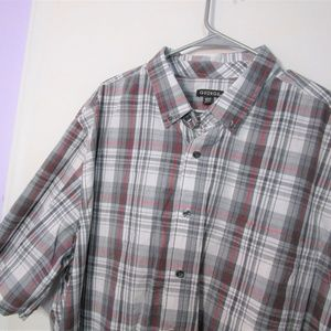Red, Grey and White Plaid Short Sleeve Buttondown
